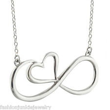 Infinity Necklace - 925 Sterling Silver - Infinity Sign with Heart Jewelry *NEW*