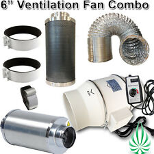 "6""/150mm HYDROPONICS LOW NOISE FSC DUCT FAN WITH NRC SILENCER DUCTING FILTER"