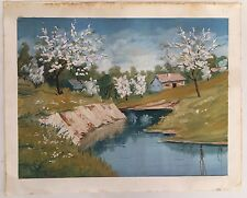 Painting From Europe: Idyllic Beautiful Spring Country Landscape Oil On Paper