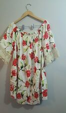 Plus 3X white red floral dress off the shoulder crochet scalloped +torrid gift