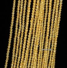 2MM HONEY CITRINE GEMSTONE GRD AAA LIGHT YELLOW FACETED ROUND LOOSE BEADS 15.5""