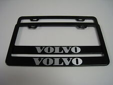 (2) BLACK Coated Metal License Plate Frame - VOLVO