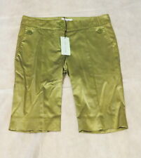NWT $1K MOSCHINO Made In Italy Mossy Green Satin Cocktail Walking Dress Shorts 8