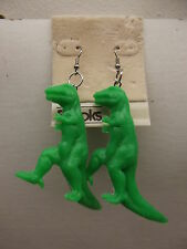 VINTAGE BROOKS PLASTIC FIGURAL DINOSAUR DANGLE PIERCED EARRINGS NEW OLD STOCK