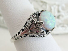 Opal Filigree Sterling Silver Ring Vintage Antique Art Deco Sz 8 Valentines Day