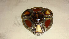 VINTAGE JEWELLERY SIGNED MIRACLE SCOTTISH AGATE BROOCH/PIN