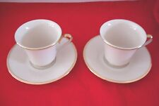 Lot of 2 Lenox Eternal Gold Dimension Collections Cups and Saucers USA Ivory
