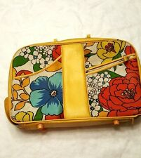 Flower Power overnight case yellow cloth suitcase 15 x 10 Small girls 60s? 70s?