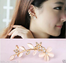 Womens Fashion Flower Shape Rhinestone1 PCS Ear Cuff Clip Golden Stud Earrings