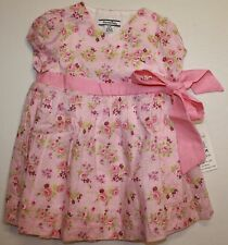 Hartstrings Pink Floral Cotton Lined Wrap Dress w/ Linen Blend Sash 12 Month NWT