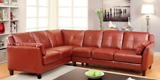 Mahogany Red Color Fabric Leather Sectional Contemporary Style Sofa Living Room