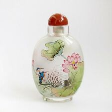 CHINESE INSIDE HAND PAINTED Twin Birds Lotus Flower SNUFF BOTTLE Double Faces