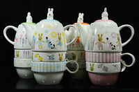 SET of 3 Ceramic Novelty Teapot Cups Coffee MUGS Tea For Two Set 4 Colours NEW