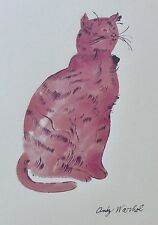 ANDY WARHOL PINK SAM  SIGNED CAT LITHOGRAPH MATTED