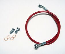 "STREAMLINE +4"" RED EXTENDED REAR STEEL BRAIDED BRAKE LINE YAMAHA YFZ450 2004+"