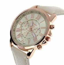 New Luxury Rose Gold Leather Stainless Women Lady Quartz  Dress Fashion Watch