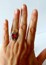925 STERLING SILVER OVAL PINK RUBY AND MARCASITE RING size K1/2, N, P