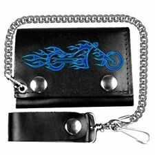 """FIRE BIKE 4"""" SOFT Motorcycle NEW Quality Leather Biker WALLET & CHAIN WAL-0009"""