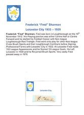 FRED SHARMAN LEICESTER CITY 1933-1939 VERY RARE ORIGINAL HAND SIGNED CUTTING