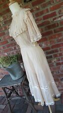Vintage  Lawn Cotton Lace  Prairie Dress Wedding Boho Bridal Country Hippy Small