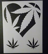 "Love Heart Marijuana Pot Leaf Leaves 8.5"" x 11"" Custom Stencil FREE SHIPPING"
