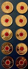 Amazing Set/Lot of 10 * 2008 Canada REMEMBRANCE DAY RED POPPY Quarter 25 c Coins