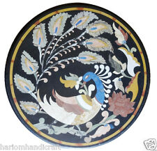 "30"" Black Marble Round Coffee Table Top Stylish Peacock Inlay Kitchen Decor H846"