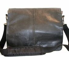 Ben Sherman Black Leather Gray Canvas Shoulder Messenger Bag