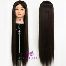 """30"""" 100% Cosmetology Hair Training Head Practice Mannequin Doll + Table Holder"""