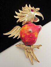 """Cool Vintage 2-1/2"""" Gold Tone Rhinestone Jelly Belly Exotic Bird Brooch Pin AH4"""