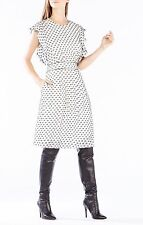 12  Nwt  BCBG WHITE BLACK SHELIA FLUTTER SLEEVE DOTTED DRESS  $338