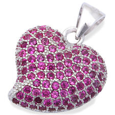 """Pave Style Ruby Heart .925 Sterling Silver Pendant .75"""""""