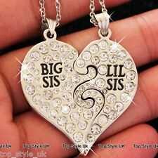 Parte due Cuore Cristallo Collana di Sisters & Best Friends Lil SIS BIG SIS REGALO