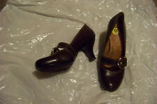 womens sofft brown leather strap heels shoes size 9