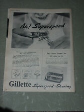 "Gillette Superspeed 1953  Vintage   14"" X 12""  (Approx)  Original   UK  Advert"