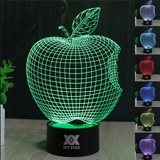 Apple 3D LED illusion  Night Light Touch Switch Table Desk Lamp 7 Colour Gifts