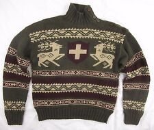 Ralph Lauren Polo 100% Wool Hand Knit Mens Hunter Green Sweater Elk Deer Ski
