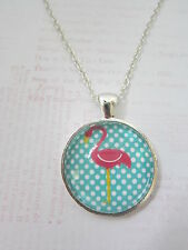 Pink & Teal Polka Dot Flamingo Silver Pendant Glass Necklace New in Gift Bag