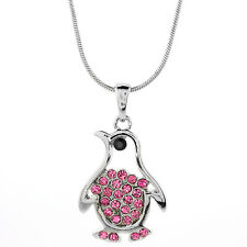 """White Color Penguin Shape Charm Pendant with Pink Crystals and 16"""" Chain"""