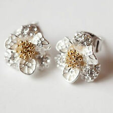 flower daisy Stud Earring earrings silver gold rhinestone floral butterfly UK