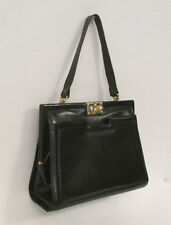 VINTAGE 1950s TRIOMPHE BLACK LEATHER HANDBAG MADE IN BELGIUM FOR MACY'S NEW YORK