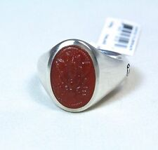 New David Yurman Men's Petrvs Bee Coin Ring Curved Carnelian Silver Size 10 $550
