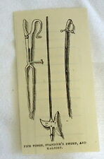 small 1882 magazine engraving ~ PIPE TONGS, MILES STANDISH'S SWORD & HALBERT, MA