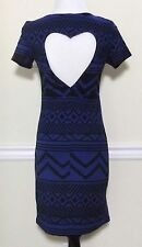 New Victorias Secret Sexy Bodycon Cut Out Heart Blue Black Aztec Dress Sz Small