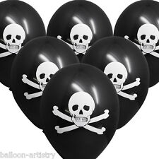 6 PIRATE AHOY Birthday Party Skull Crossbones Black Printed Latex Balloons