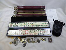 Large Bombay Mah Jongg Game Set with extras – Red & Gold Wood Case