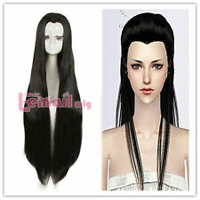 Beauty tips 100cm long Black Straight ancient maple Widow's peak Cosplay Wig