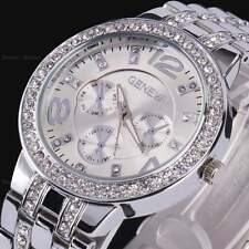 Silver Women Geneva Bling Stainless Steel Quartz Rhinestone Crystal Wrist Watch