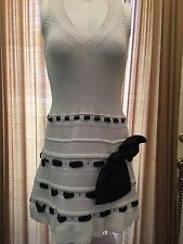 A WINNER!Red Valentino Black And White V Neck Sweater Dress W/ Black Bow Size M