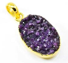 PURPLE DRUZY GEMSTONE PENDANT GOLD PLATED OVER COPPER JEWELR IP12042